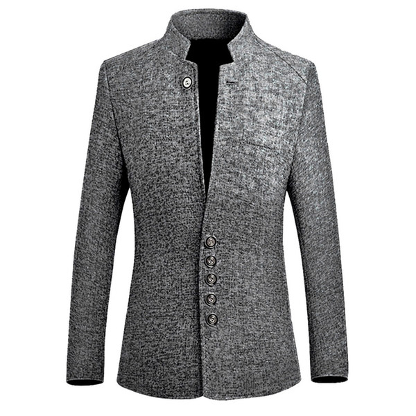 2019 Primavera Nuovo Stile Cinese Business Casual Stand Collare Maschio Giacca Slim Fit Mens Blazer Jacket 8 #