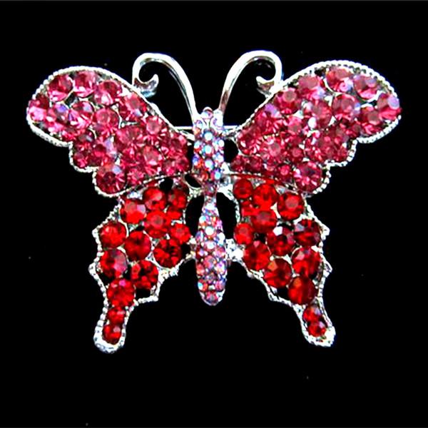 Broche papillon en strass cristal strass rose et rouge brillant plaqué argent