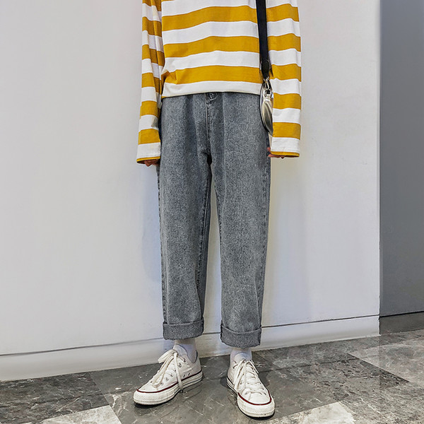 2019 Baggy hommes Homme Pantalons simple Hommes Bleu Jeans Couleur Homme Pantalons droites desserrées Pantalons de haute qualité Plus Size M-2XL