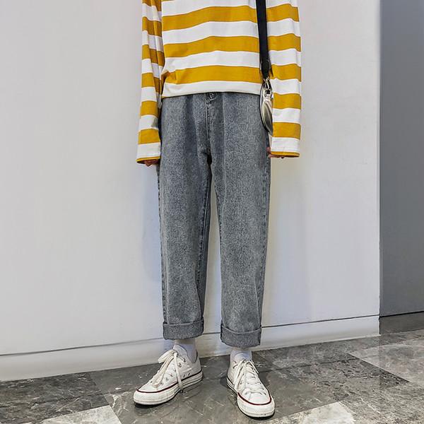 2019 Men's Baggy Homme Casual Pants Mens Blue Color Jeans Male Straight Pants Loose High-quality Trousers Plus Size M-2XL