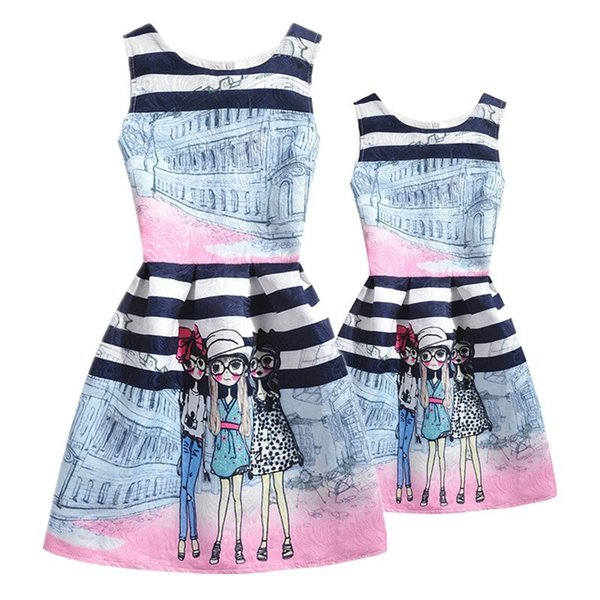 Family Clothing Mother Baughter Dresses Matching Outfits Printing Mom And Daughter Dress Mae E Filha Mommy And Me Girls Clothes Y19051103