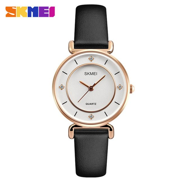 Concise Diamond Ma'am Wrist Watch Originality Woman Expression Companion Student Genuine Leather Watchband Woman Quartz Watch
