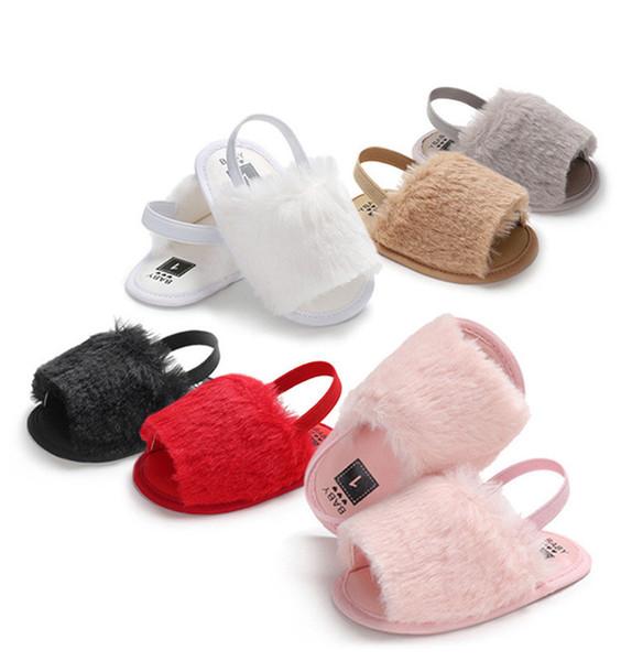 Летние сандалии новорожденных девочек меховые туфли мода детские меховые тапочки теплые мягкие дети домашняя обувь дети малыш мальчик сплошной цвет A32203