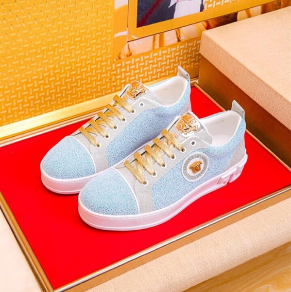 Italian Fashion Men Sneakers High Quality Brand Casual Breathable Shoes Soft Tennis Mens Shoes Men Formal Mariage Wedding Shoe W376