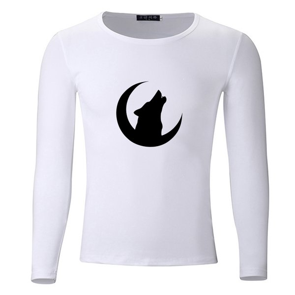 Howl of A Wolf Under The Moon Size Students Spring Autumn T-Shirt Long Sleeve Men Women Boys Girls T Shirt Tees Kids Tshirt