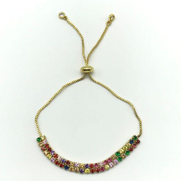 5 шт. / Лот элегантный Cloloful 2 слоя радуги бусины CZ регулируемые размеры теннисный браслет