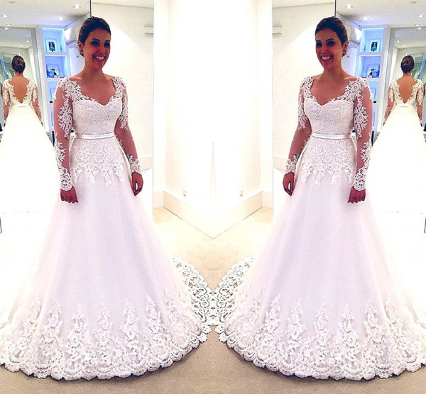 A-Line Long Sleeves Ball Gowns Wedding Dresses Sexy V Neck Lace Appliques Beaded Tulle Vestido De Noiva White Bridal Dresses