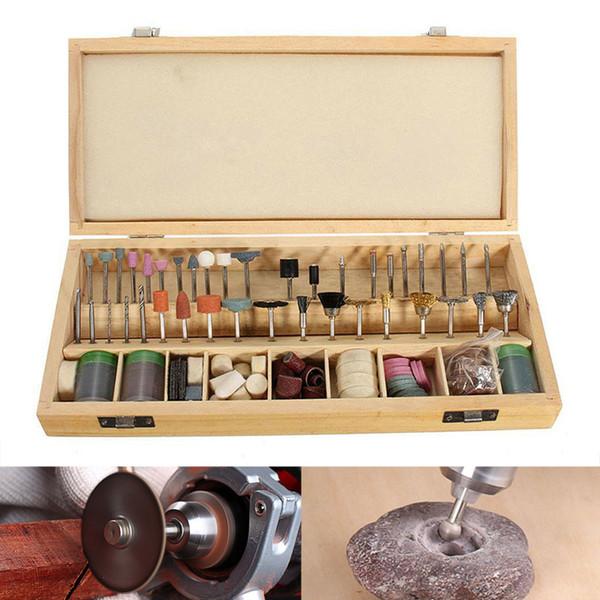 Kit di accessori per utensili rotanti da 228 pezzi in scatola di legno Punte per lucidare con gambo JDH99