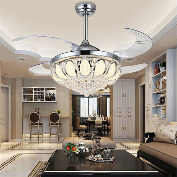 top popular 42 inch Crystal Ceiling Fan Chandelier Lotus Ceiling Light Changeable Light Colors Remove Control folding Ceiling Fans Light Living Room 2021