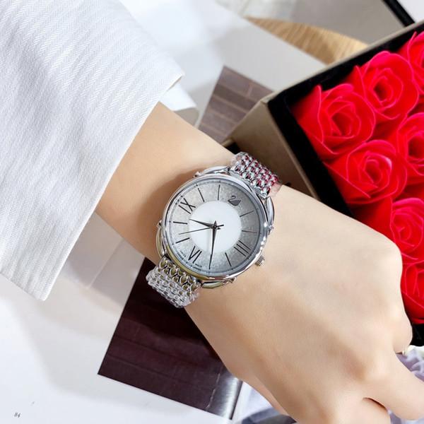 2019 del marchio cigno nuova signora di disegno femminile quarzo della catena del braccialetto in acciaio rosa Donne Vestito vigilanza di diamante con il movimento del Giappone Vita impermeabile