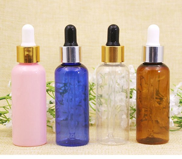 High Quality Plastic PET Dropper Bottle For Essential Oil 50ML Rubber Dropper Bottles Container