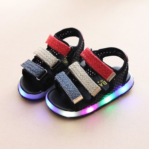 Summer Beach Led Colorful Lighting Baby First Walkers Summer Cool Girls Boys Shoes Footwear Glowing Cute Baby Sneakers J190517