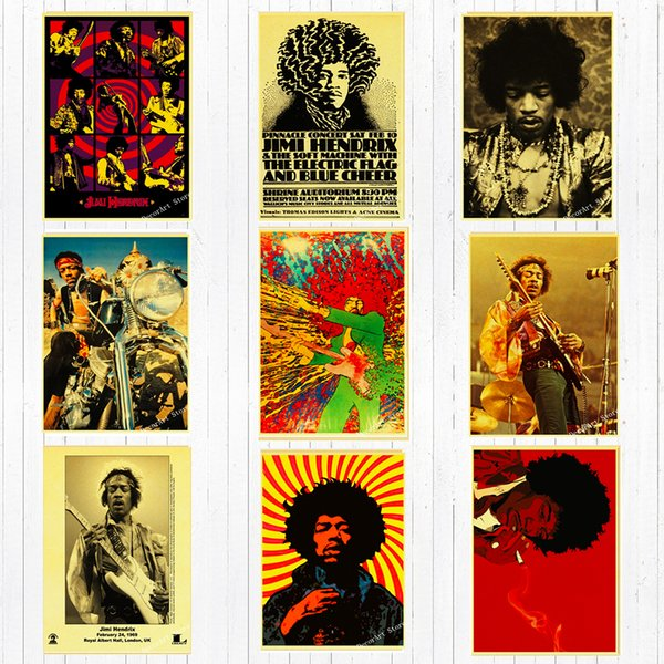 Retro Singer Guitarist Jimi Hendrix Canvas Painting Vintage Wall Kraft Posters Stickers Home Decoration Wall Picture Living Room