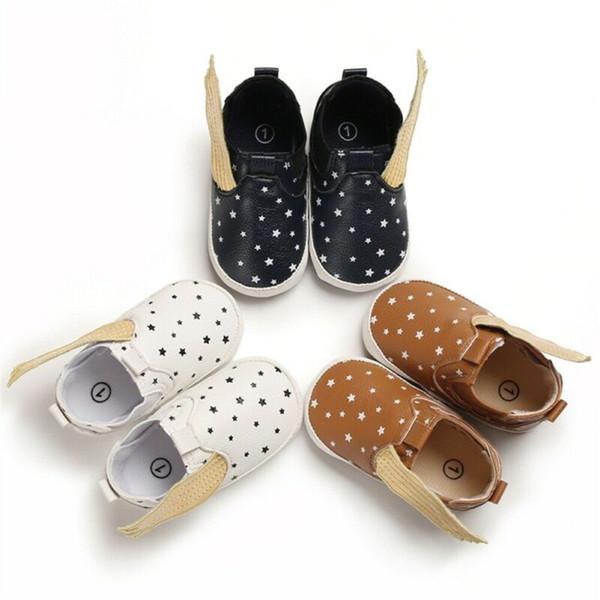 Nouveau-né Infant Mignon Aile Douce Semelle Souple Anti-slip Sneaker PU Cheville Bottes Bébé Enfants Garçon Fille Crib Chaussures Toddler Prewalker 0-18 M