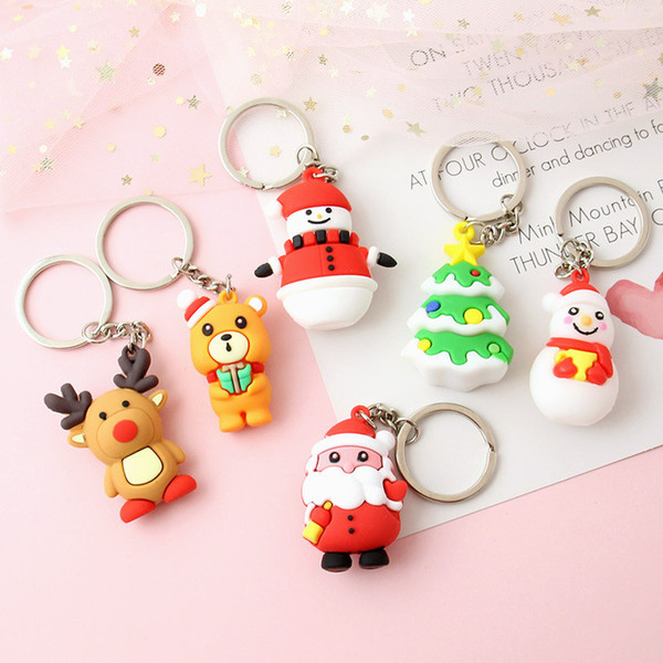 Karikatür Sevimli Daimi Noel Baba Anahtarlık Silikon Doll Noel Hediyesi Anahtarlık Çanta kolye Üç Boyutlu Dekorasyon 054