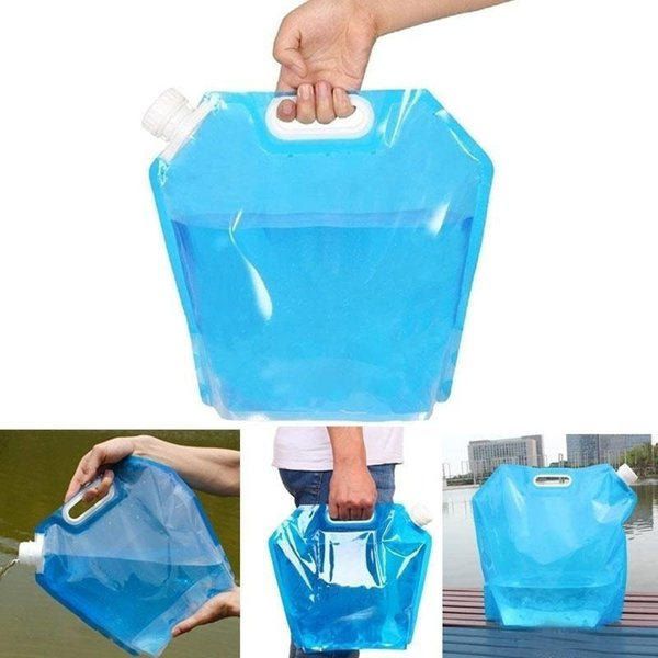 top popular Drinking Water Bag 5L 10L Practicle Foldable Wear-Resistant Eco-Friendly Outdoor Camping BBQ Hiking Moving Water Container 2019