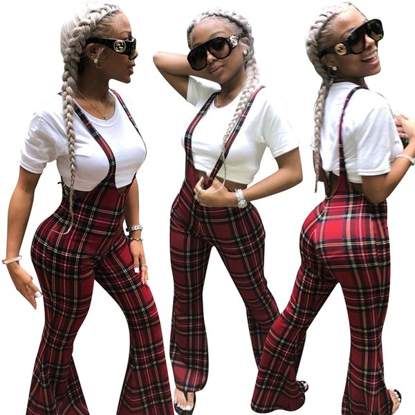 fashion red plaid printed women wide leg long pants overall 2019 straps neck sleeveless casual club jumpsuits outfit, Black;white