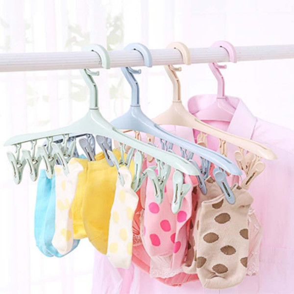 Plastic Portable Bathrooms Cloth Hanger Rack with Detachable clips Clothespin Clothes Hangers Socks Underwear drying Clips