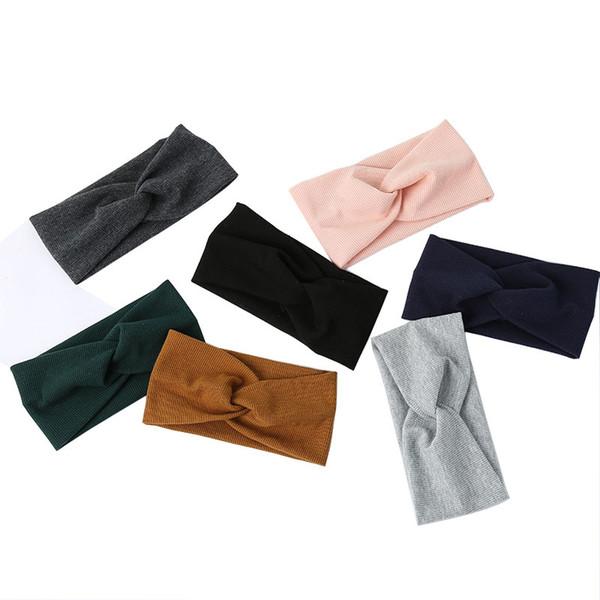 Solide Simple Bandeau Pour Les Femmes Dame à tricoter Élastique Bandeau Large Stretch Turban Ruban De Cheveux Accessoires de Cheveux Chapeaux