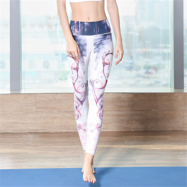 Womens Sexy High Waisted Yoga Pants Sports Workout Leggings Running Riding Fitness Jogging Dance Trousers Print Elastic Tights Skinny Pants