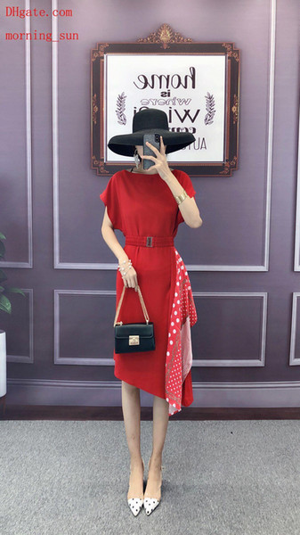 2019 Yaz elbiseler kırmızı Straplez omuz Dalga noktası Şifon yüksek bel ince elbise rahat moda Elbiseler en kaliteli kadın giyim AB-18