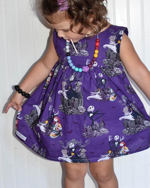 INS Yeni Cadılar Bayramı Kızlar Elbiseler Kafatası Çocuk prenses elbise Bebek Kız Giydirme Bebek Kız Giyim Çocuk Tasarımcı Giyim Kız A8244
