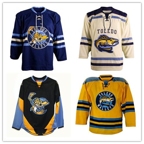 Vintage Toledo Walleye Hockey Jersey Embroidery Stitched Customize any number and name Jerseys