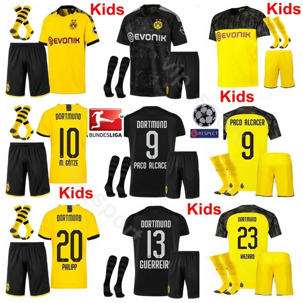 top popular Youth REUS Jersey Socks Set Borussia Dortmund Kids Soccer PACO ALCACER GOTZE SANCHO WITSEL HUMMELS DELANEY HAKIMI HAZARD Football Shirt Kits 2020