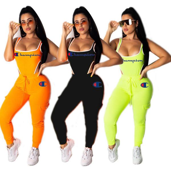 Costume da due pezzi da donna Completo da lettera Tuta ricamata Tuta da scoop Tuta da donna Slim Fit 2 pezzi Abbigliamento sportivo arancione