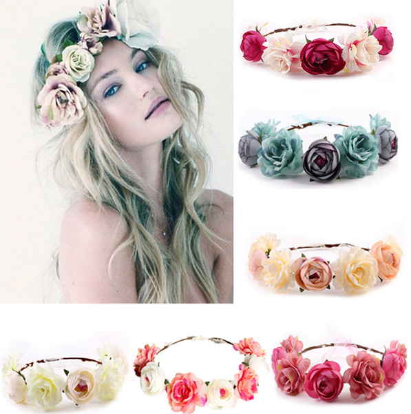 20pcs MOQ Bohemian Floral Garland Crown for Wedding Bride Bridesmaid, Nice Headdress Beach Flower Wreath Headband Hair Accessories