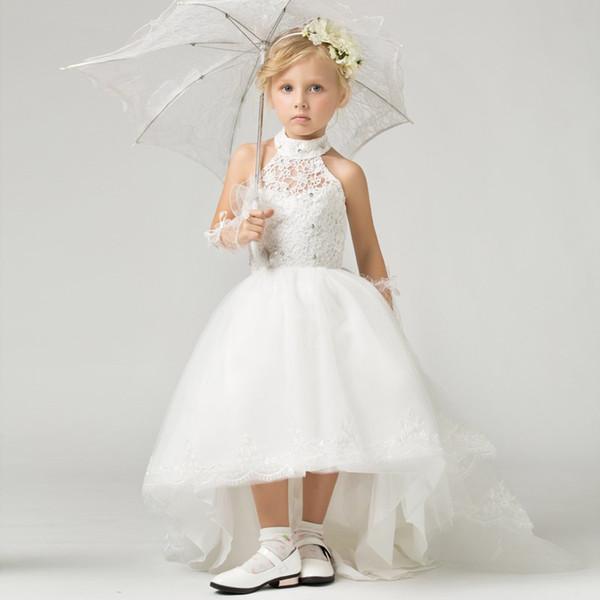 Formal Halter White Lace Applique Kids Gown Flower Girl Dresses For Wedding Girl's Floor Length Child Party Birthday Dress 17flgB377