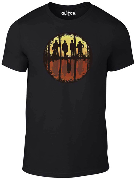 Maglietta da uomo Stranger Mirror - Ispirata da Stranger Things TV Netflix Hawkins Maglietta da uomo Classic High Quality Style tondo