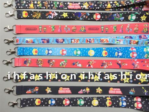 Großhandelslos Karikatur-Supermario-Telefonschlüsselkette Halsband-Schlüssel-Kamera Identifikation-Karten-Abzugsleine Freies Verschiffen PO143