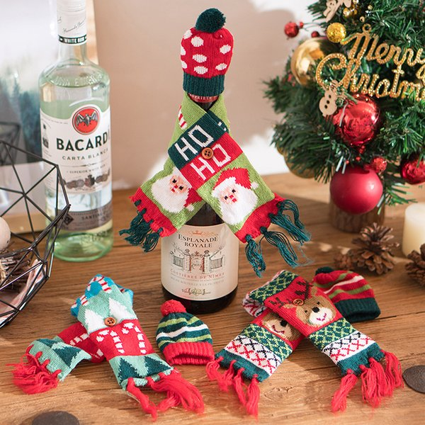 New Christmas Bottle Decorations Creative Knit Scarf Hat Set Christmas Wine Beer Champagne Bottle Dress Up Sale Christmas Ornaments Sale On