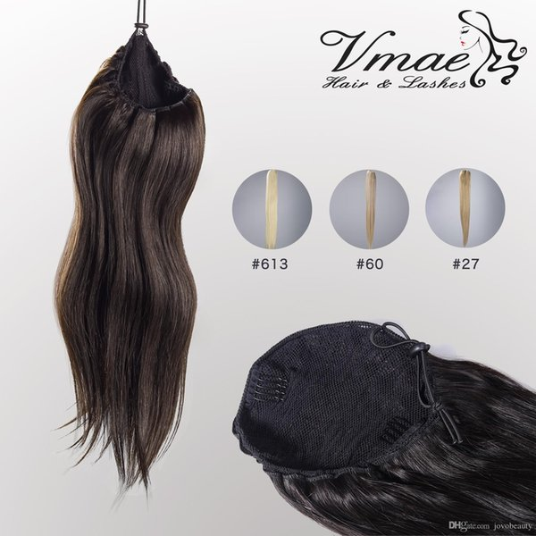 VMAE Human Straight Pferdeschwanz Haar 100g Natural Non Remy Hair Schachtelhalm engen Loch Clip In Kordelzug Pferdeschwanz Haarverlängerungen