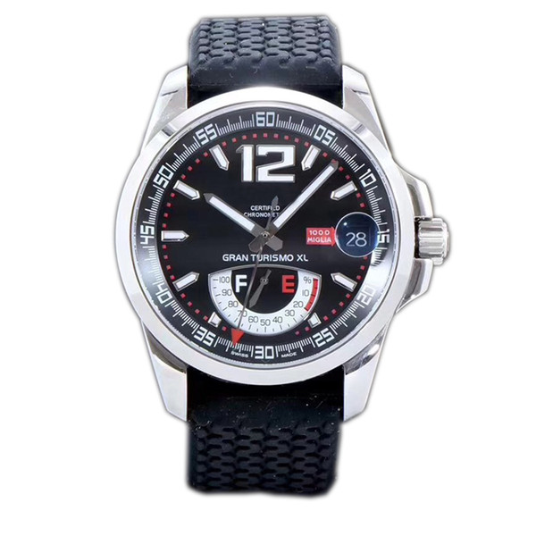 New Best Edition Miglia GT XL 168457-3001 Steel Case Real Power Reserve Black Dial ETA A2824-2 Automatic Mens Watch Black Rubber Strap FK01