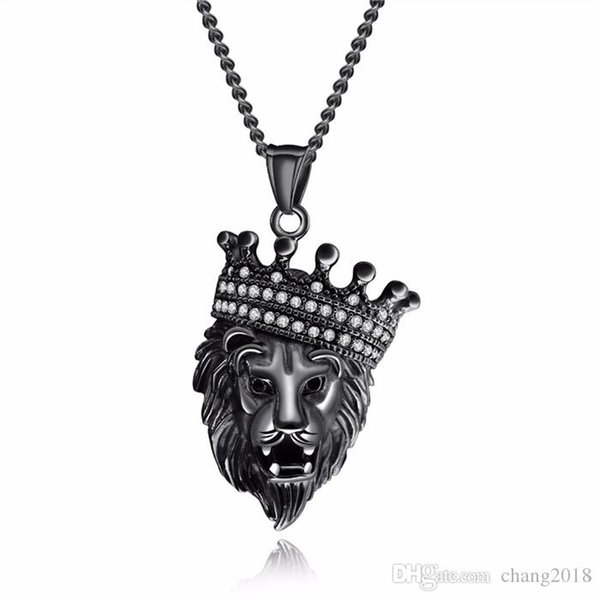Wholesale Cool Crown Jewelry Necklace Lion Face For Man Stainless Steel  Link Chain Luxury Cubic Zirconia Mans Pendant Necklaces GjGX1379 Silver