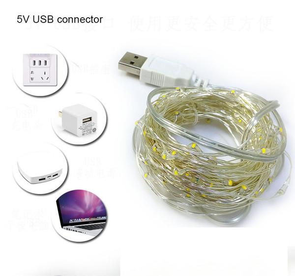 10 M USB LED Dize Işık Su Geçirmez LED Bakır Tel Dize Tatil Açık Noel Partisi Düğün Dekorasyon Için Peri Işıkları