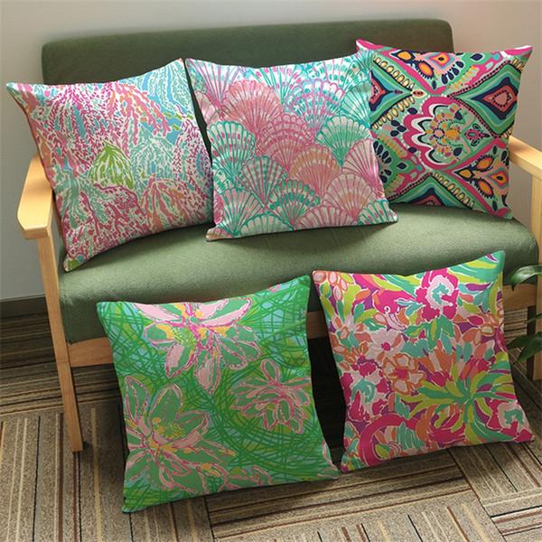 Moda Lilly Pulitzer funda de cojín Mulitcolor impreso decorativo funda de almohada de lino oficina de almohada decoración del hogar 6 8kz E1