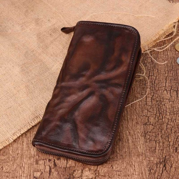 Original Innovations Retro Fashion Leather Men Wallet Business Casual Handmade Men Sac en cuir à long embrayage Sac