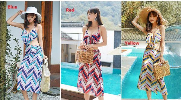 2019 Women Bikini Beach Resort Hot Spring Three-piece Swimsuit Bathing Suits Swimwear Striped Shawl With Chest Pad ZH0061
