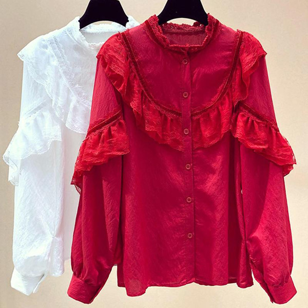 2019 Cotton Shirt High Quality Women Blouse Spring Long Sleeve O-Neck Solid White Red Shirts Slim Female Casual Ladies Top Shirt