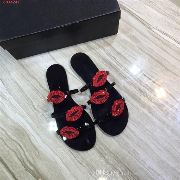 Spring and summer new listed women slippers, crystal red lips patent leather slippers, casual flat sandals