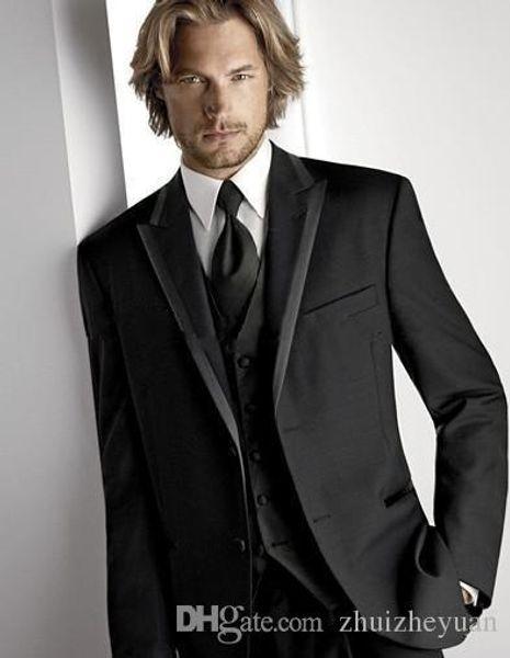 New Cheap Classic Black Groom Tuxedos Three Pieces Two Buttons Peak Lapel Groomsmen Best Man Suit Mens Wedding Suits (Jacket+Pants+Vest)