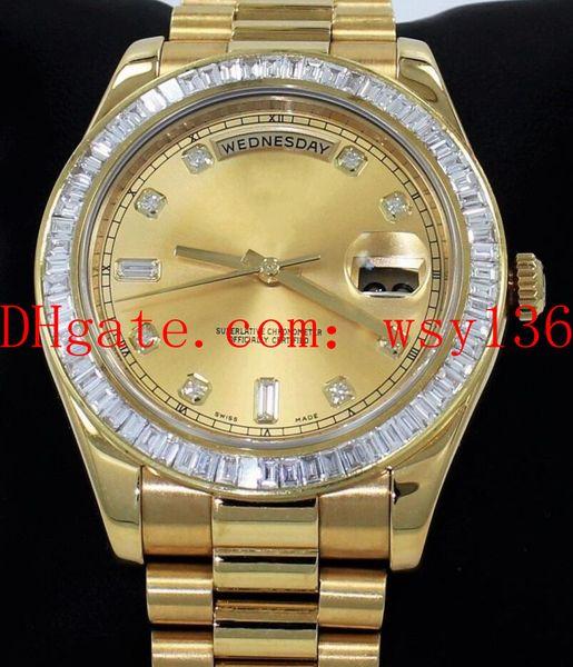 Relojes de pulsera de lujo para hombres Día-Fecha II Presi 218238 18K Baguettes de oro amarillo Diamante 36 mm Movimiento mecánico automático Reloj para hombre