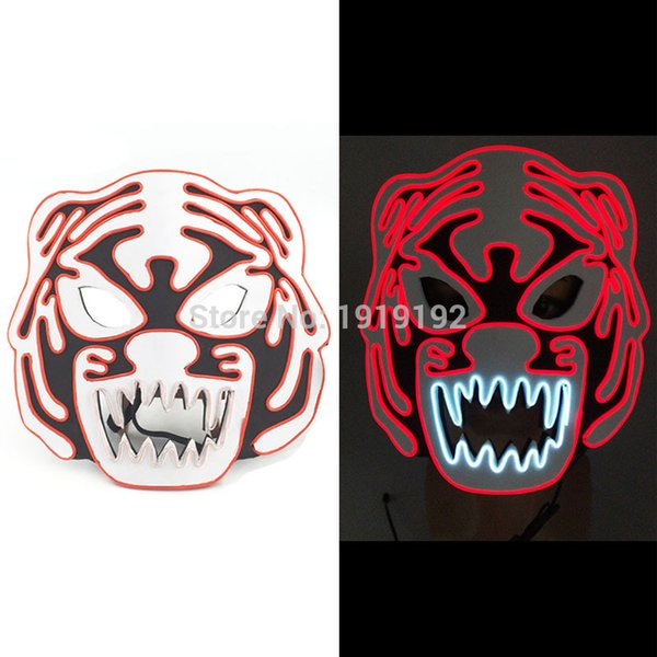 New Style Eva Tiger Mask Anonymous Led Purge Mask Glowing Masquerade Party Masks For Glow Party Supplies Free Shipping