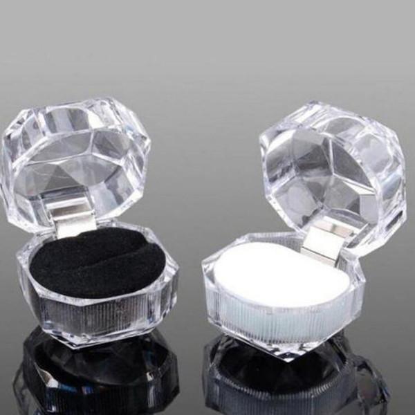 Envío gratis 20 unids / lote venta caliente paquete de joyas anillo anillo pendiente acrílico transparente boda embalaje caja de joyería