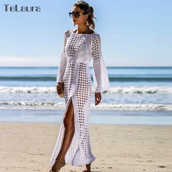 2019 New Beach Cover Up Bikini Crochet Knitted Beachwear Women Biquini Summer Swimsuit Cover Up Sexy See-through Beach Dress J190618