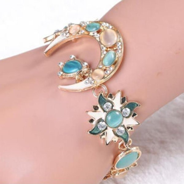 2019 new fashion women sun and moon shiny crystal rhinestone opal water drops bracelet beautiful gift