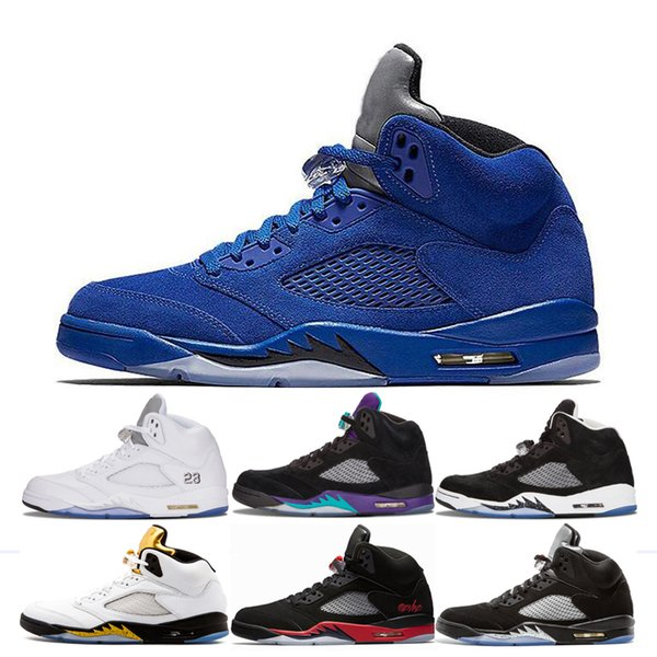 Men Basketball Sneakers 5s Mens Blue Red suede Space Jam bred Oreo Black Grape Olympic Metallic Gold White Cement Fire Red Shoes Sneakers